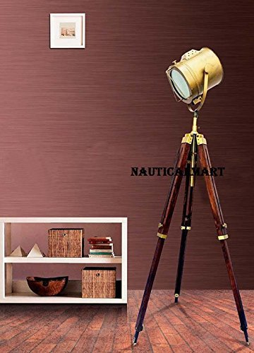Hollywood Brass Antique Finish Nautical Marine Spot Searchlight Wooden Tripod Floor Lamp