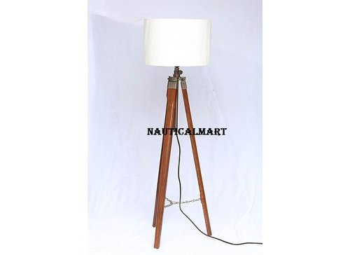 Decorative Wooden Tripod Floor Lamp Stand With Shade For Living Room