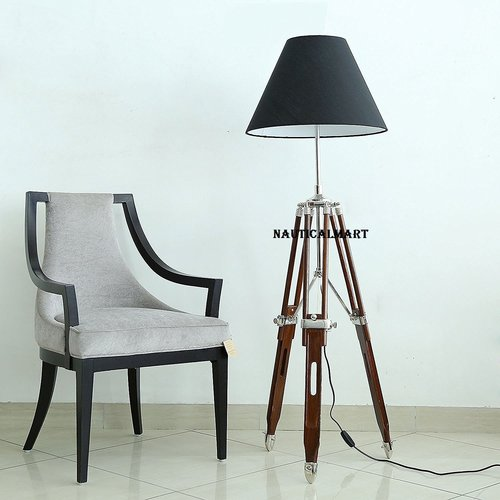 Designer Black Shade Brown Wooden Tripod Floor Lamp For Living Room