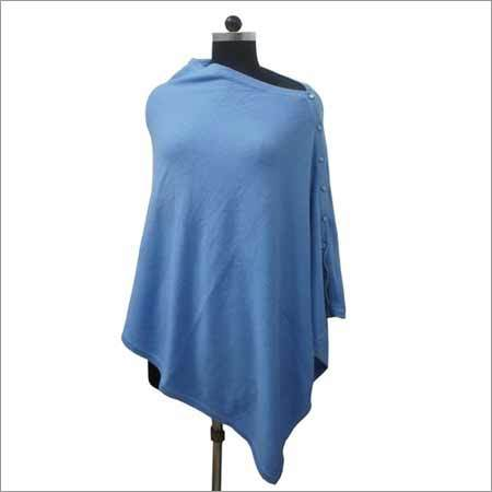 Cashmere Wool Knitted Poncho with Button