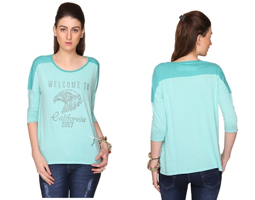 Bedazzle Casual 3/4 Sleeve Embellished Women's Green Top