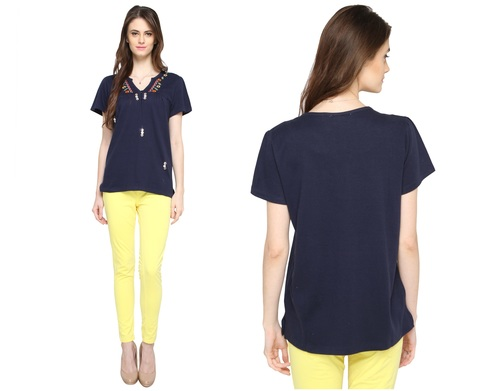 Bedazzle Casual Short Sleeve Embroidered Women's Dark Blue Top