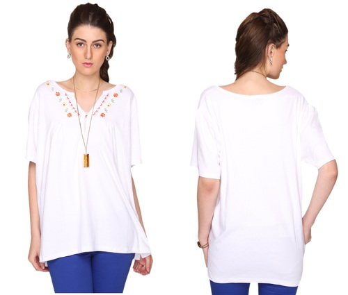 Bedazzle Casual Short Sleeve Embroidered Women's White Top