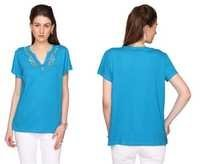 Bedazzle Casual Short Sleeve Solid Women's Blue Top