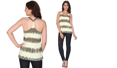 Bedazzle Casual Sleeveless Printed Women's White, Green Top
