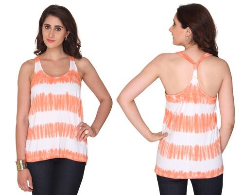 Bedazzle Casual Sleeveless Printed Women's White, Orange Top