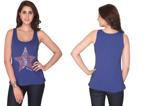Bedazzle Casual Sleeveless Embellished Women's Blue Top
