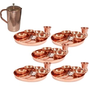 Pure Copper Traditional Dinner Set of Thali Plate
