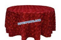 Red Rosette Wedding Table Cloth