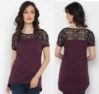 Bedazzle Casual Short Sleeve Solid Women's Purple Top