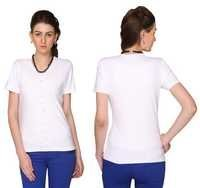 Bedazzle Casual Short Sleeve Solid Women's White Top
