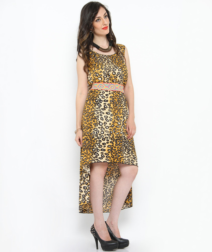 Bedazzle Women's High Low Yellow Dress