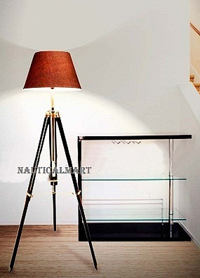 Nautical Black Wooden Tripod Floor Lamp Teak Wood Home Decor For Living Room