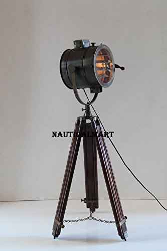 Designer Tripod Search Light Floor Lamp With Wooden Stand