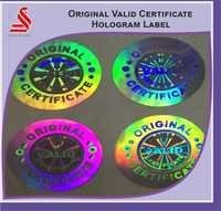 Valid Original Authentic Certificate Holographic Labels Stickers