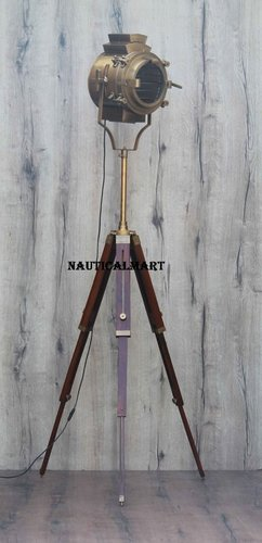 Nautical Decorative Antique Brass Tripod Search Light Floor Lamp