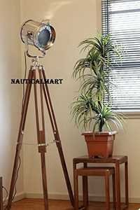 Designer Chrome Marine Tripod Floor Lamp Spot Light Search Light