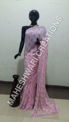 Chiffon / Georgette Natural Dye Block Print saree