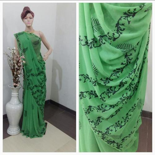 Green Printed Handloom Sarees