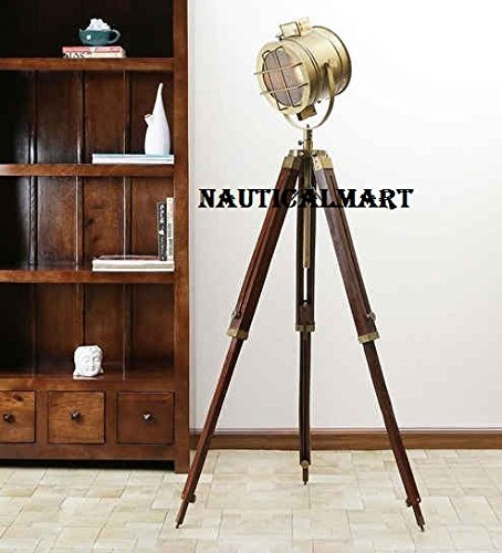 Nautical Antique Brass Tripod Search Light Floor Lamp For Living Room