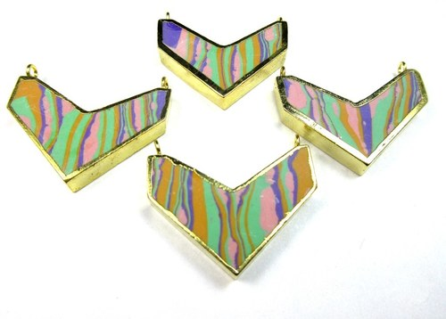 Multi Color Chevron Pendant with Gold Electroplating