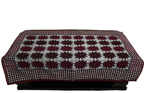 Flower Printed Maroon Table Cover