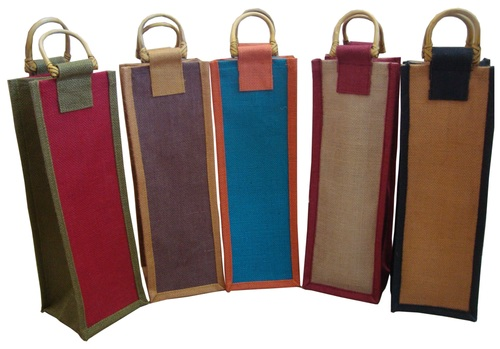 Jute Single Bottle Bags