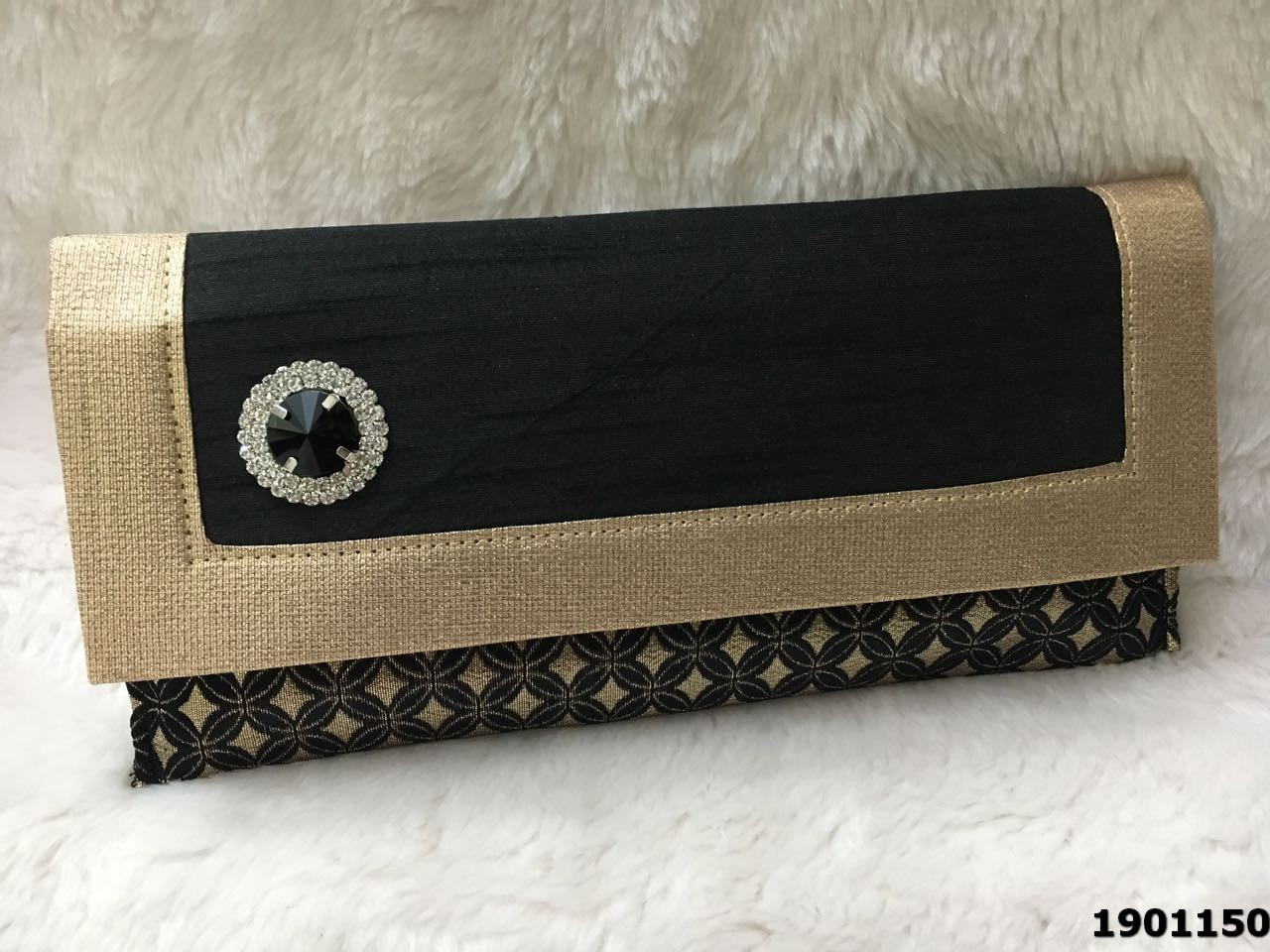 Designer Stone Brooch Silk Evening Clutch Bag