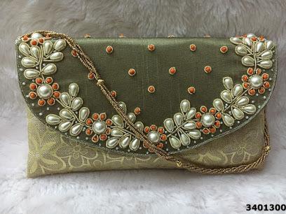 Designer Brocade Stone Work Bag With Beaded Sling