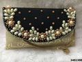 Designer Brocade Stone Work Bag With Beaded Sling