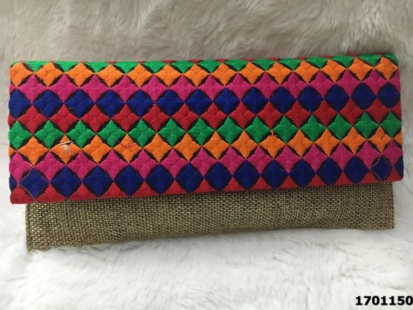 Designer Printed Jute Clutch Bag/Evening Bag