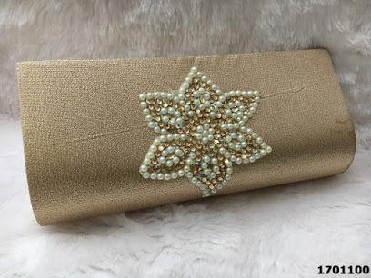 Designer Beautiful Pearl And Stone Work Clutch Bag