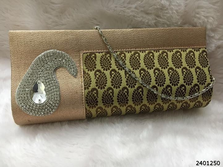 New Adorable Classy StoneBrooch Brocade Clutch Bag