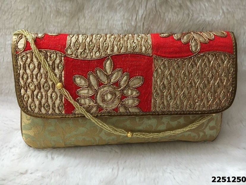 Designer Brocade Clutch Bag With Beaded Sling