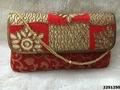 Designer Brocade Clutch Bag With Beaded Sling