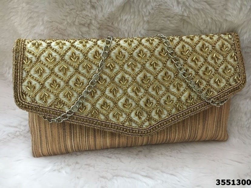 Designer Beads Work Evening Bags with Short Chain