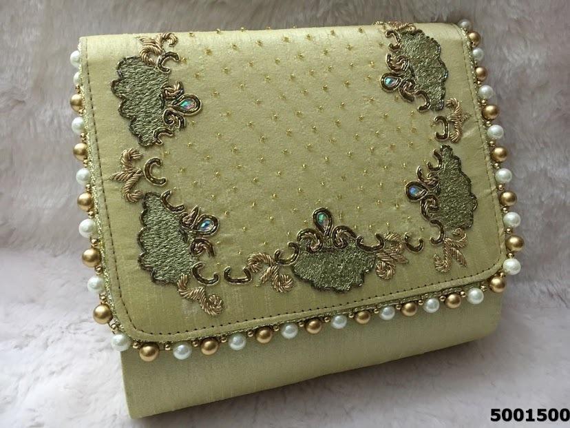 Designer Heavy Stone And Pearl Work Handbag