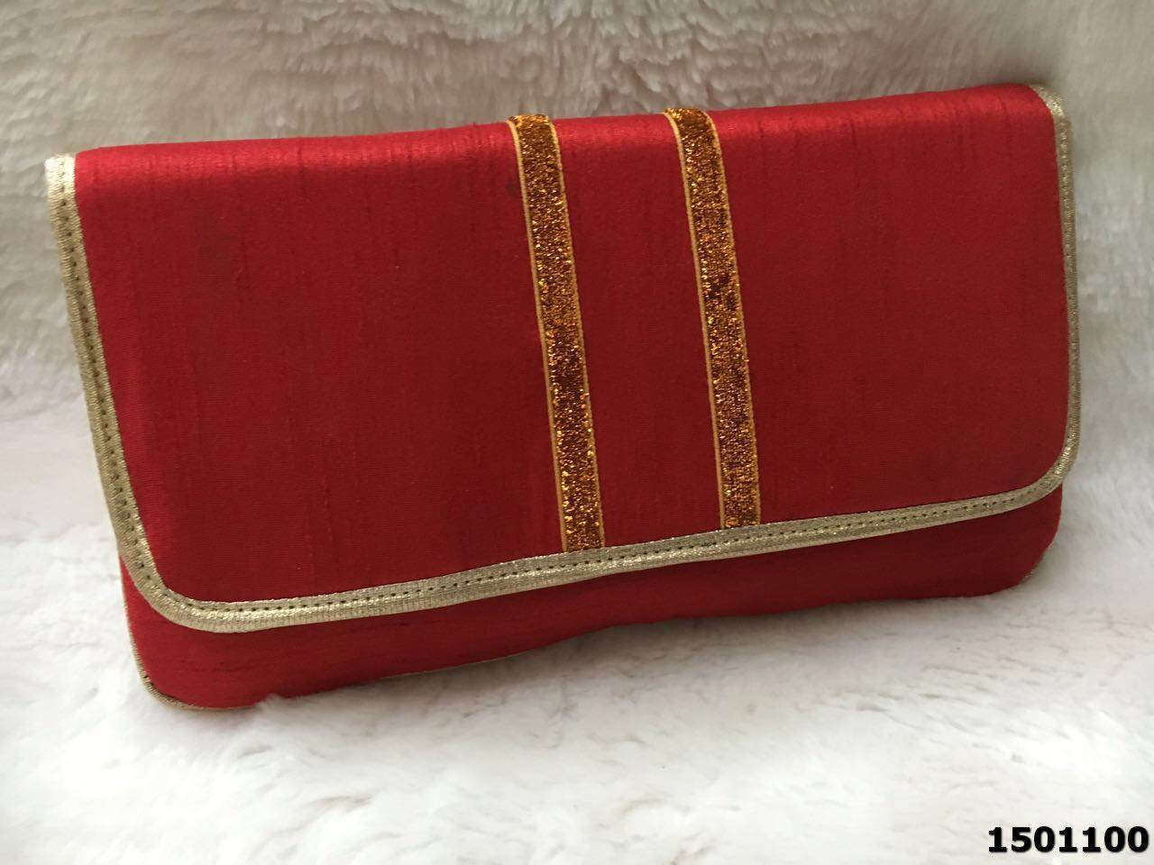 Designer Silk Evening Clutch Bag Sparkle Border