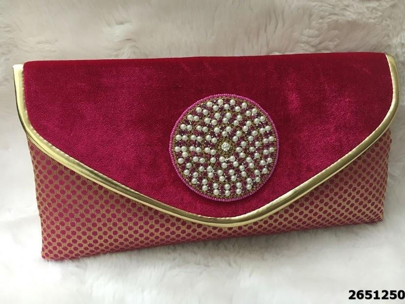 Designer Velvet Pearl And Stones Work Silk Clutch