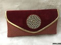 Designer Velvet Pearl And Stones Work Silk Clutch