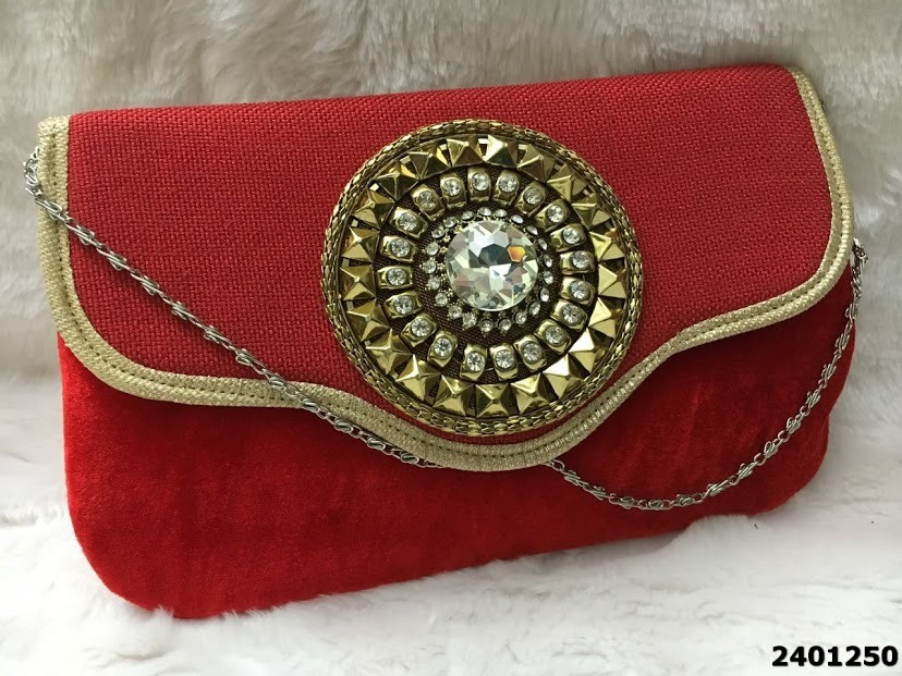 Latest Elegant Jute And Velvet Stone Clutch Bag