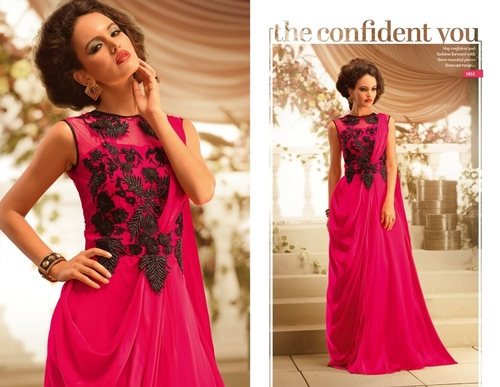 911d83105d PRODUCT DESCRIPTION :Beautiful magenta designer georgette fancy gown with  fancy embroidery work & net on neck. (slide variation in colour and work is  ...