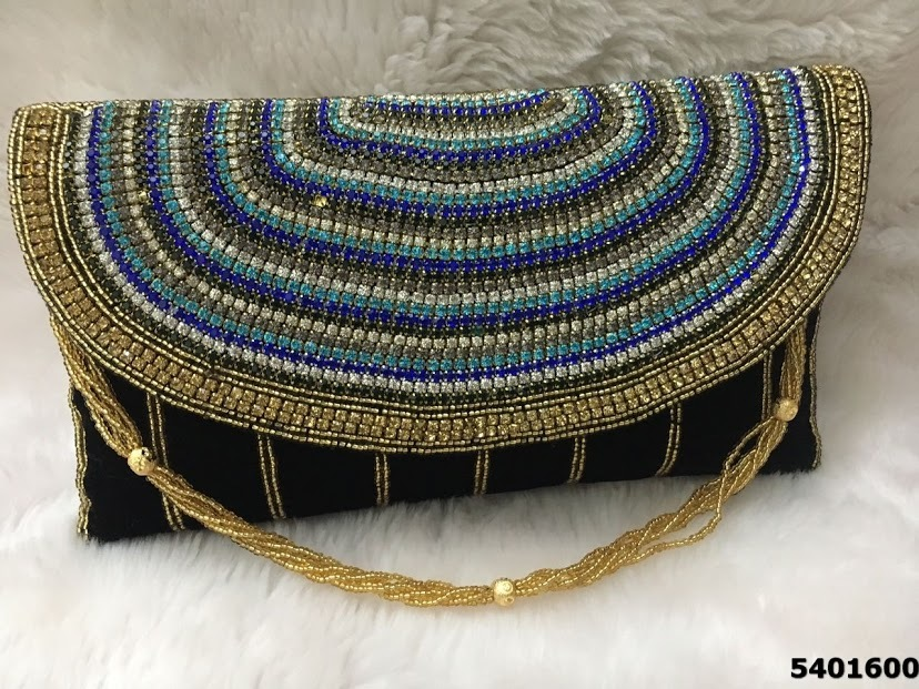 Designer Velvet Stone Work Beaded Sling Clutch Bag