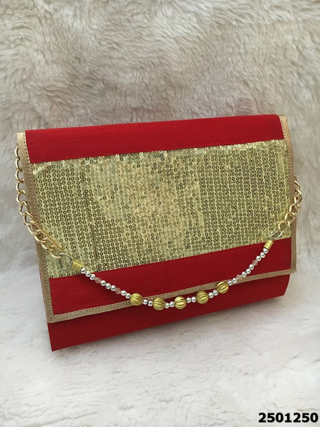 Elegant And Stylish Raw Silk Clutch Bag