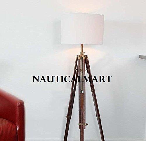 Nautical Marine Tripod Floor Lamp With White Shade