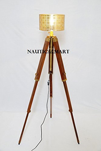 Nautical Designer Brown Tripod Floor Lamp Stand