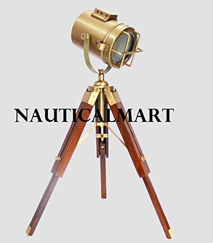 Nautical Designer Wooden Tripod Floor Lamp Stoplight Searchlight Home Decor