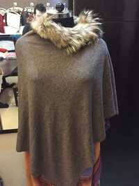 knitted pancho with raccoon fur coller