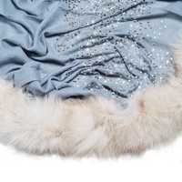 maino wool with 4 side fox fur scarves