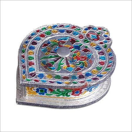 Silver Meenakari Dry Fruit Box